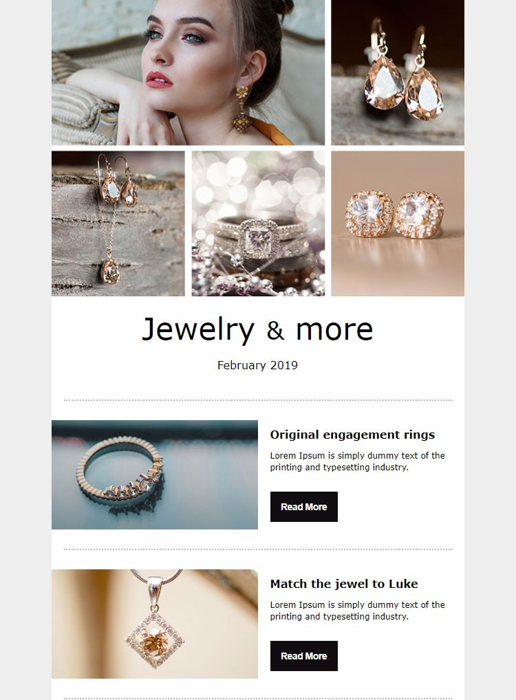 עיצוב ניוזלטר - תכשיטים